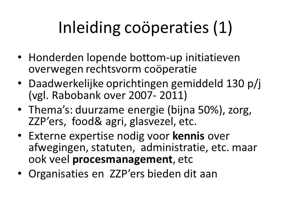 Inleiding coöperaties (1) Honderden lopende bottom-up initiatieven overwegen rechtsvorm coöperatie Daadwerkelijke oprichtingen gemiddeld 130 p/j (vgl.