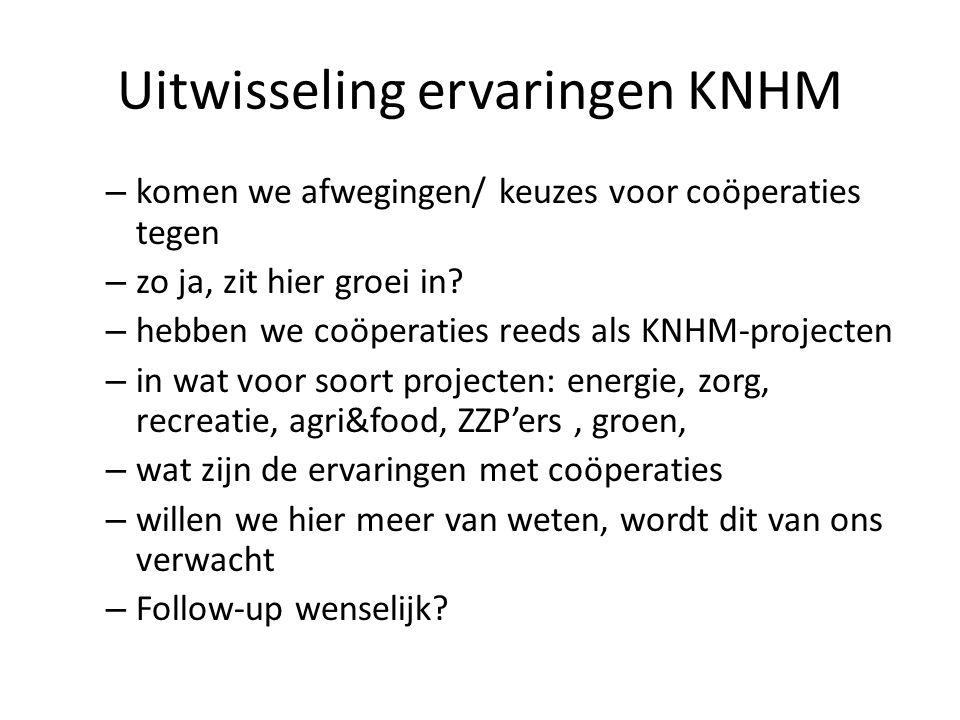 Uitwisseling ervaringen KNHM – komen we afwegingen/ keuzes voor coöperaties tegen – zo ja, zit hier groei in.