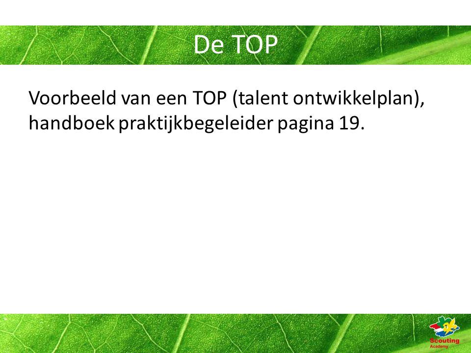 De TOP Voorbeeld van een TOP (talent ontwikkelplan), handboek praktijkbegeleider pagina 19.