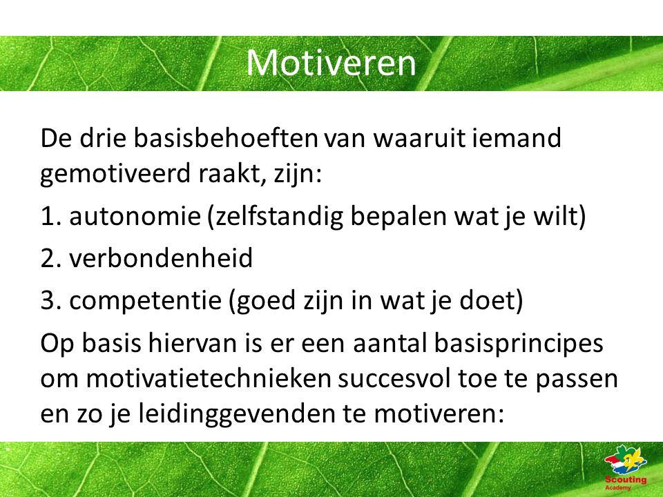 Motiveren De drie basisbehoeften van waaruit iemand gemotiveerd raakt, zijn: 1.