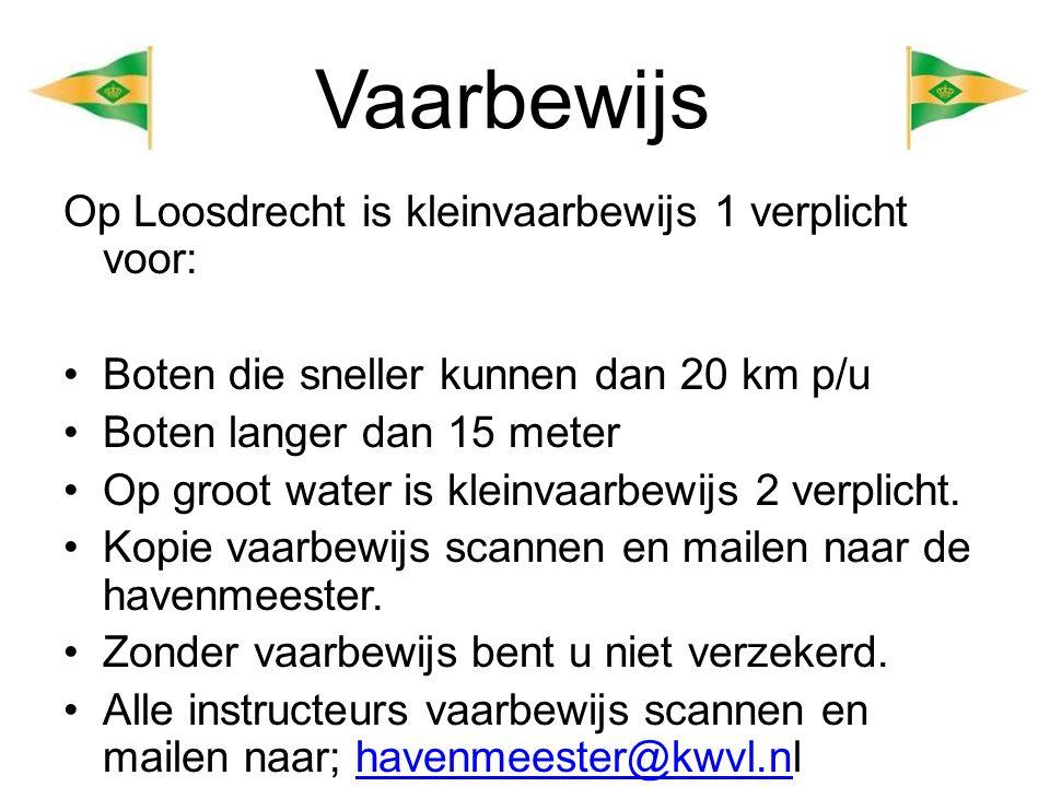Vaarbewijs Op Loosdrecht is kleinvaarbewijs 1 verplicht voor: Boten die sneller kunnen dan 20 km p/u Boten langer dan 15 meter Op groot water is kleinvaarbewijs 2 verplicht.