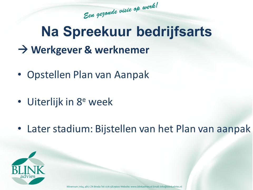 Na Spreekuur bedrijfsarts  Werkgever & werknemer Opstellen Plan van Aanpak Uiterlijk in 8 e week Later stadium: Bijstellen van het Plan van aanpak