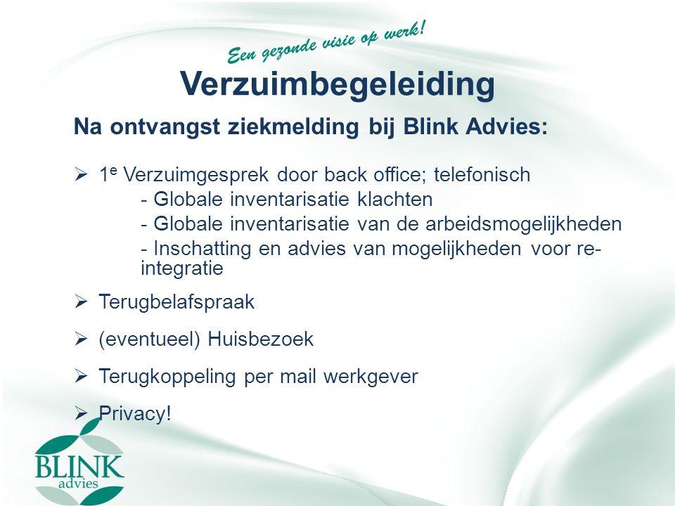 Verzuimbegeleiding Na ontvangst ziekmelding bij Blink Advies:  1 e Verzuimgesprek door back office; telefonisch - Globale inventarisatie klachten - G