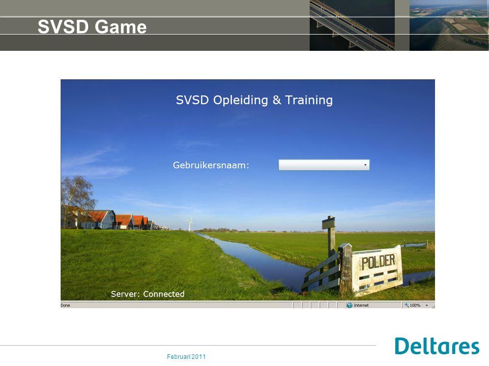 Februari 2011 SVSD Game – onderdelen SVSD Mailbox Communicatie tussen spelers met spelleider en spelers onderling Procedure module Uitvoeren van de benodigde procedures tijdens een zitting Fews Game Het maken en uitgeven van een verwachting SVSD Game: