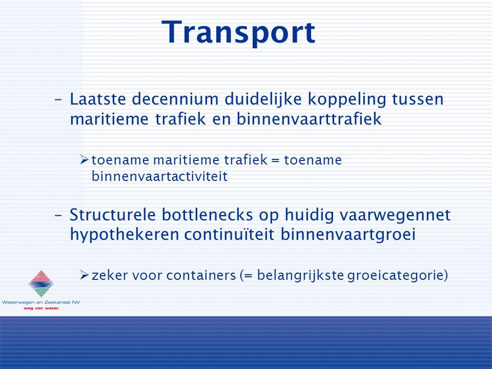 Transport –Laatste decennium duidelijke koppeling tussen maritieme trafiek en binnenvaarttrafiek  toename maritieme trafiek = toename binnenvaartactiviteit –Structurele bottlenecks op huidig vaarwegennet hypothekeren continuïteit binnenvaartgroei  zeker voor containers (= belangrijkste groeicategorie)