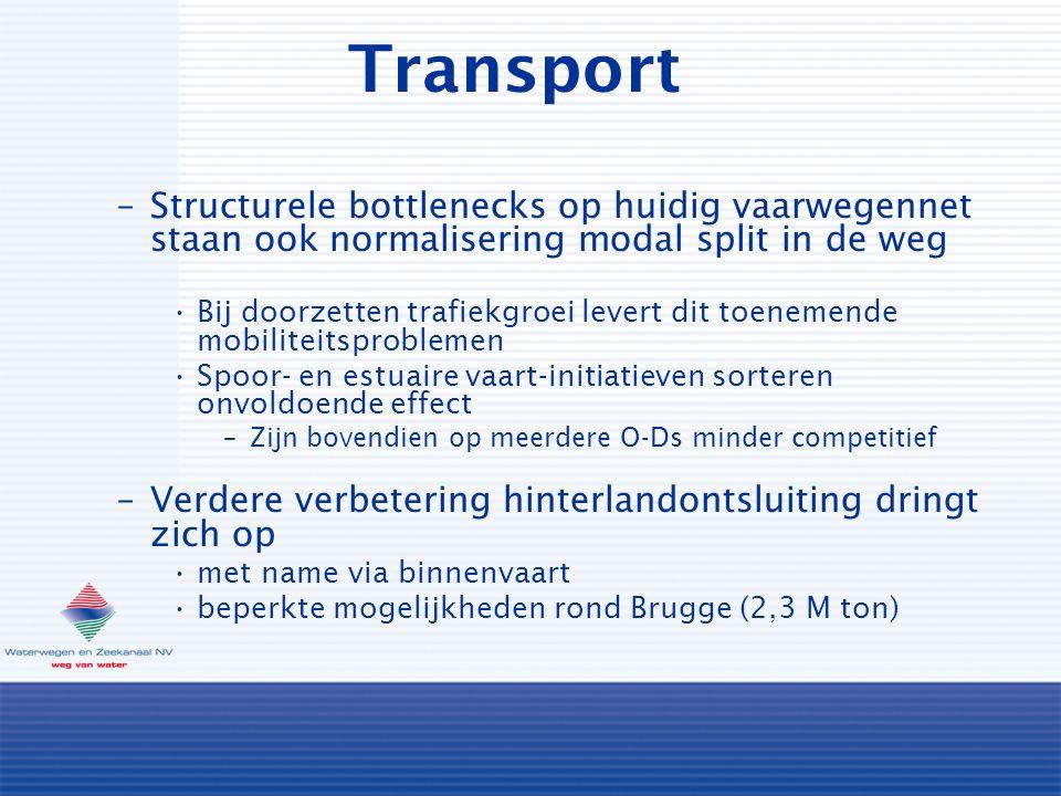 Transport –Structurele bottlenecks op huidig vaarwegennet staan ook normalisering modal split in de weg Bij doorzetten trafiekgroei levert dit toenemende mobiliteitsproblemen Spoor- en estuaire vaart-initiatieven sorteren onvoldoende effect –Zijn bovendien op meerdere O-Ds minder competitief –Verdere verbetering hinterlandontsluiting dringt zich op met name via binnenvaart beperkte mogelijkheden rond Brugge (2,3 M ton)