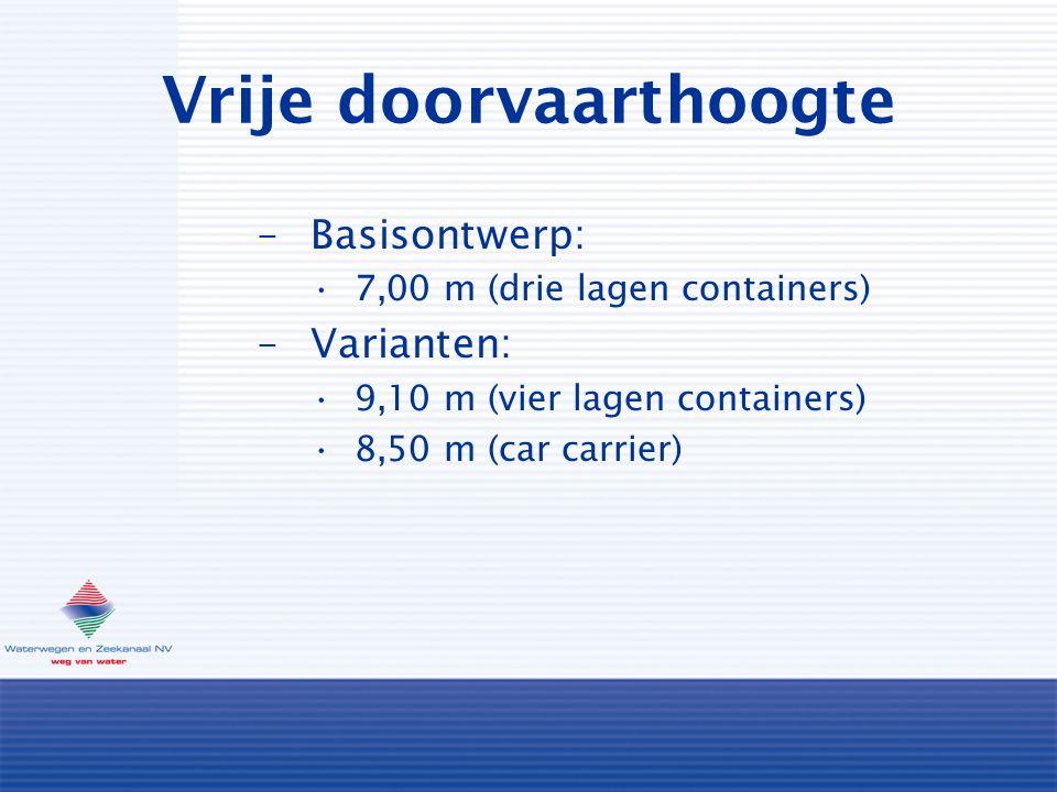 Vrije doorvaarthoogte –Basisontwerp: 7,00 m (drie lagen containers) –Varianten: 9,10 m (vier lagen containers) 8,50 m (car carrier)