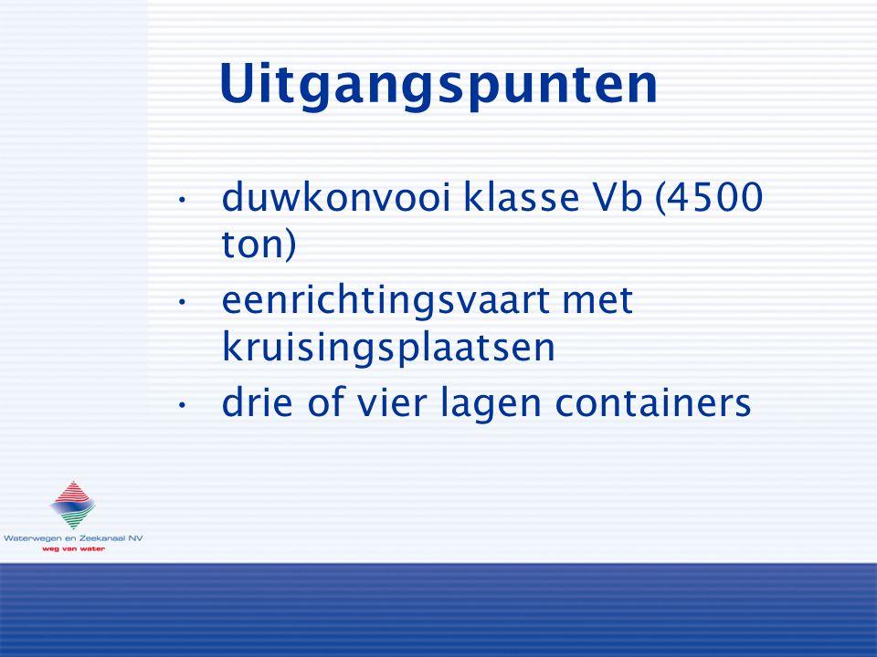 Uitgangspunten duwkonvooi klasse Vb (4500 ton) eenrichtingsvaart met kruisingsplaatsen drie of vier lagen containers
