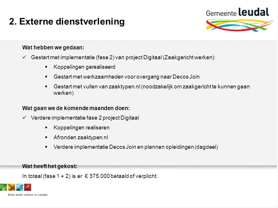 2. Externe dienstverlening Wat hebben we gedaan: Gestart met implementatie (fase 2) van project Digitaal (Zaakgericht werken):  Koppelingen gerealise