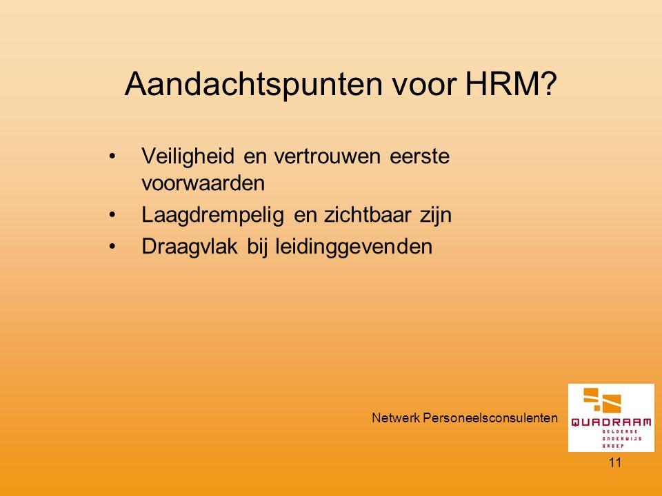 Aandachtspunten voor HRM.