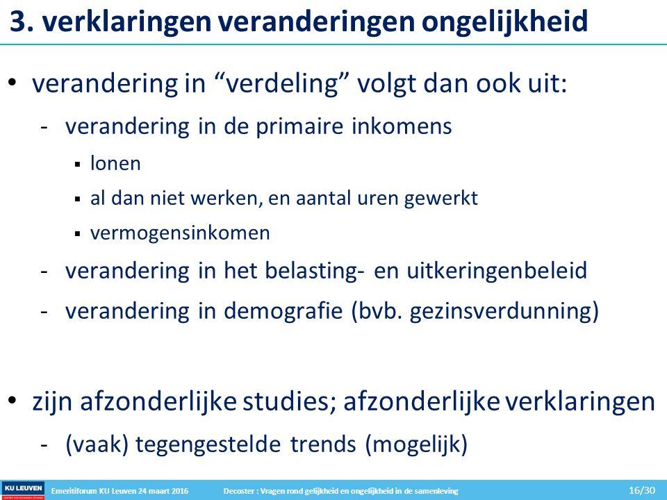 Emeritiforum KU Leuven 24 maart 2016 Decoster : Vragen rond gelijkheid en ongelijkheid in de samenleving 16/30 3.