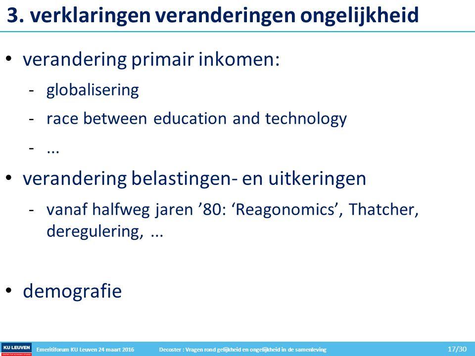 Emeritiforum KU Leuven 24 maart 2016 Decoster : Vragen rond gelijkheid en ongelijkheid in de samenleving 17/30 3.