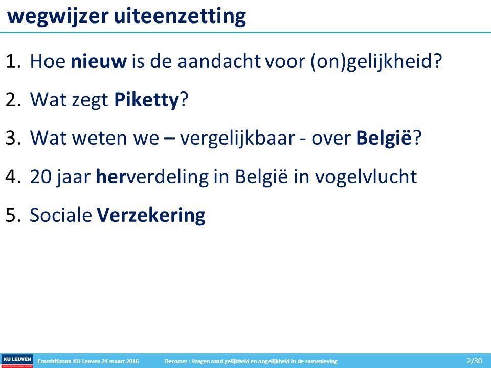 Emeritiforum KU Leuven 24 maart 2016 Decoster : Vragen rond gelijkheid en ongelijkheid in de samenleving 2/30 wegwijzer uiteenzetting 1.Hoe nieuw is de aandacht voor (on)gelijkheid.