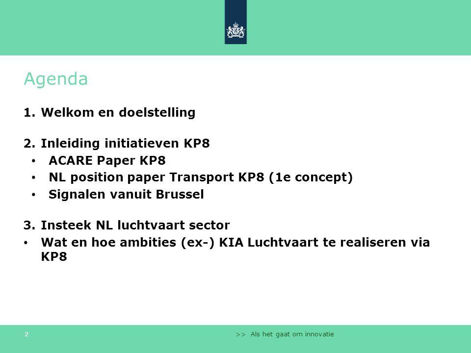 >> Als het gaat om innovatie 2 Agenda 1.Welkom en doelstelling 2.Inleiding initiatieven KP8 ACARE Paper KP8 NL position paper Transport KP8 (1e concep