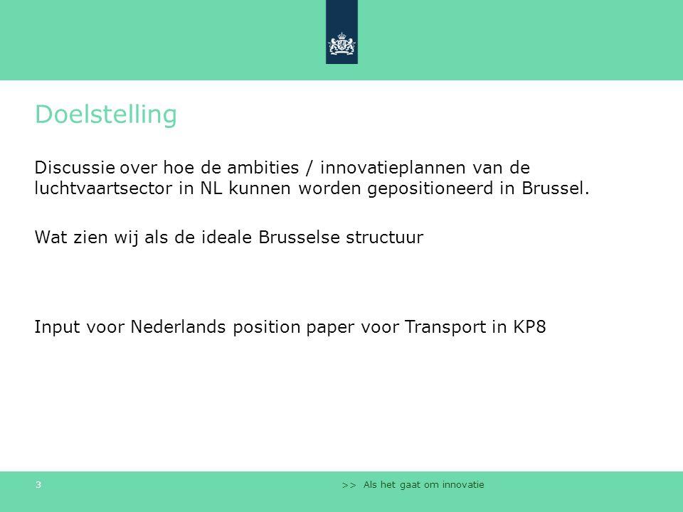 >> Als het gaat om innovatie 3 Doelstelling Discussie over hoe de ambities / innovatieplannen van de luchtvaartsector in NL kunnen worden gepositionee