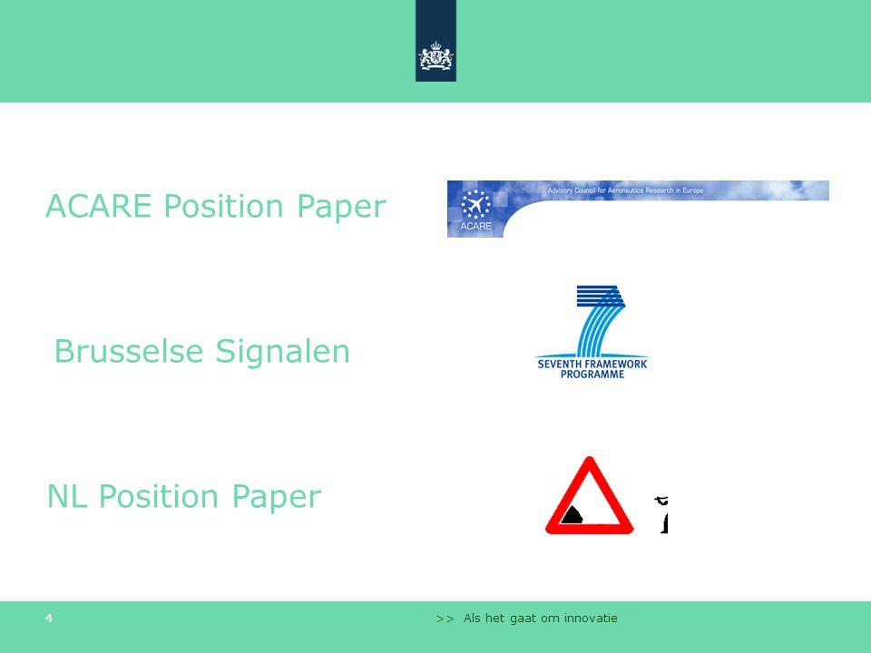 >> Als het gaat om innovatie 4 ACARE Position Paper NL Position Paper Brusselse Signalen