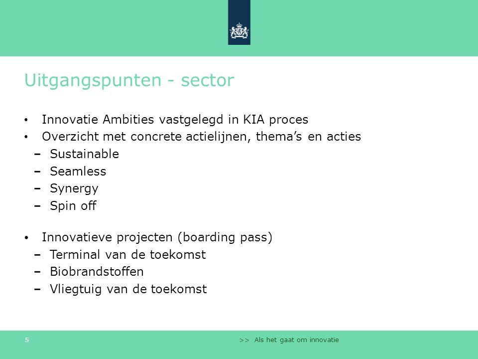 >> Als het gaat om innovatie 5 Uitgangspunten - sector Innovatie Ambities vastgelegd in KIA proces Overzicht met concrete actielijnen, thema's en acti