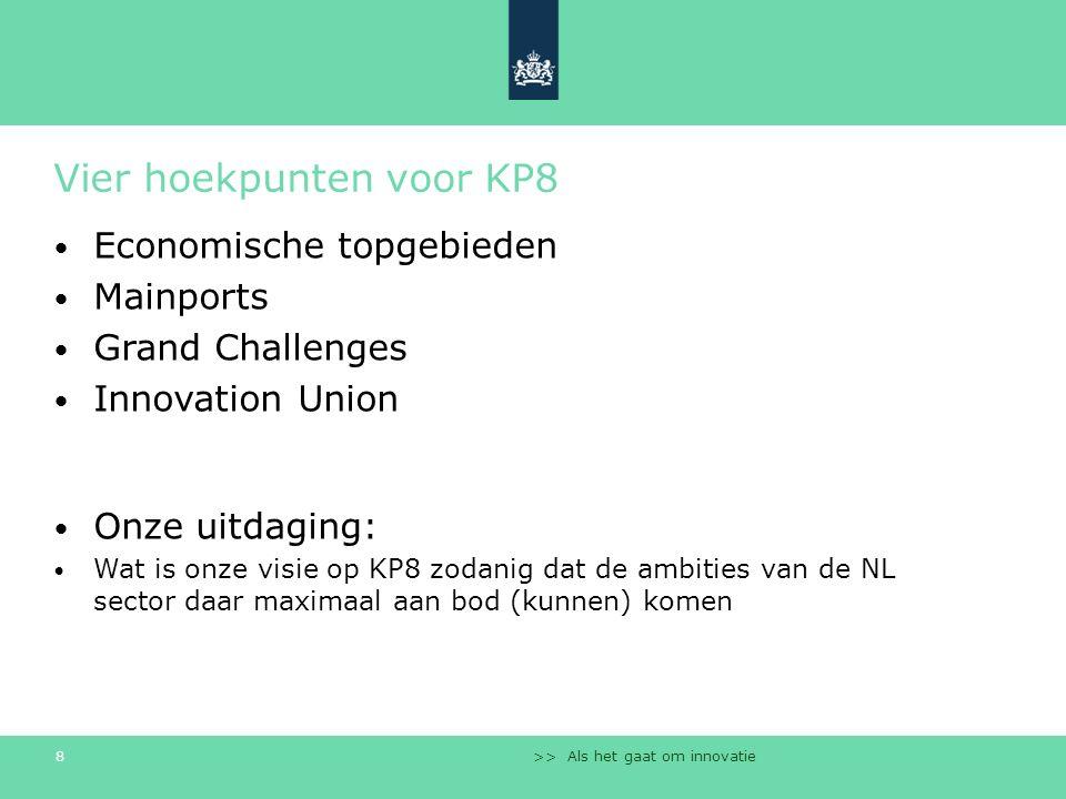 >> Als het gaat om innovatie 8 Vier hoekpunten voor KP8 Economische topgebieden Mainports Grand Challenges Innovation Union Onze uitdaging: Wat is onz