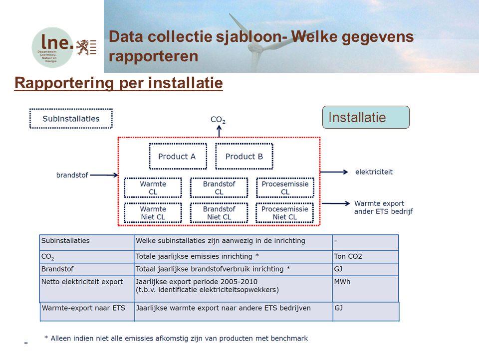 Rapportering per installatie Data collectie sjabloon- Welke gegevens rapporteren Installatie