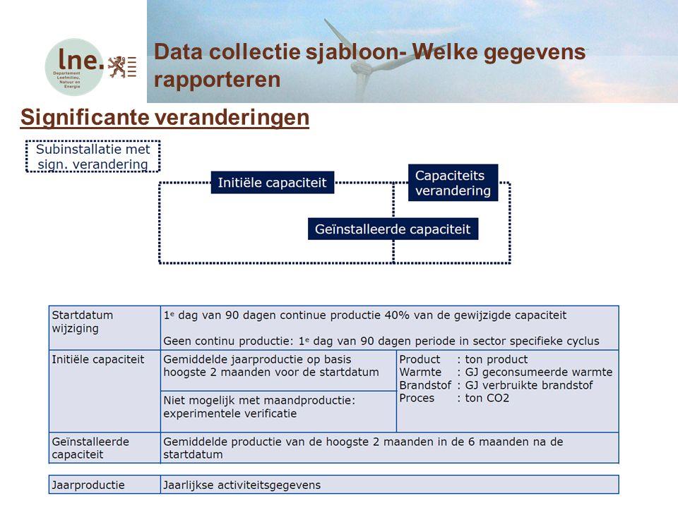 Significante veranderingen Data collectie sjabloon- Welke gegevens rapporteren