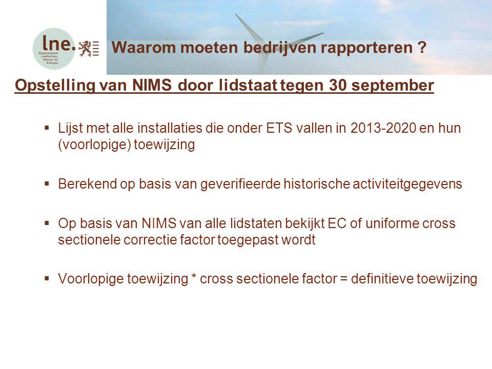 Opstelling van NIMS door lidstaat tegen 30 september  Lijst met alle installaties die onder ETS vallen in 2013-2020 en hun (voorlopige) toewijzing 