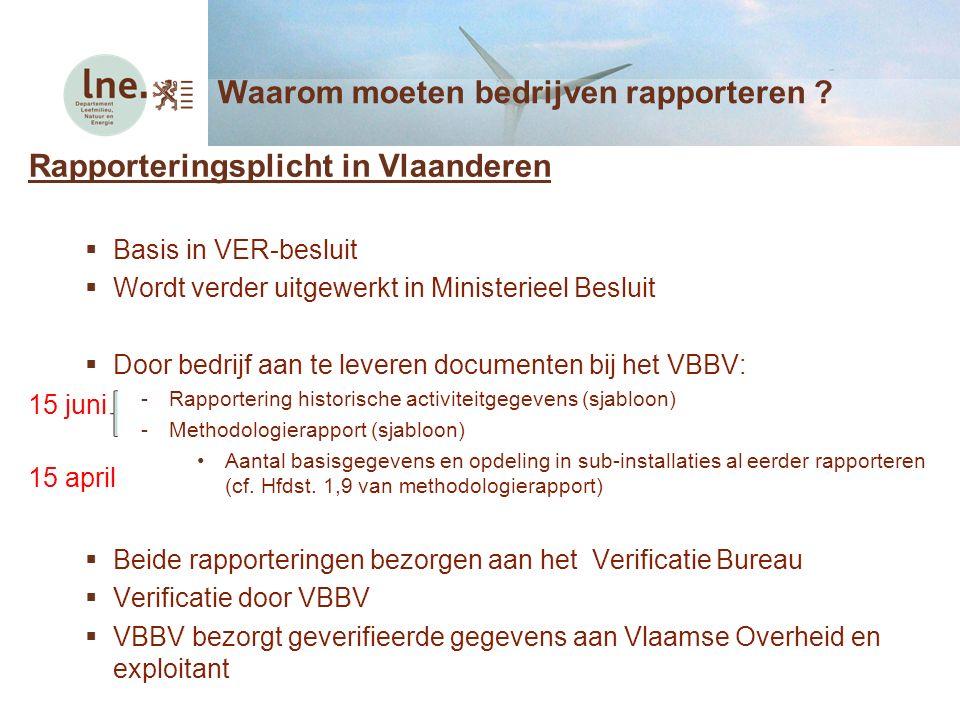 Rapporteringsplicht in Vlaanderen  Basis in VER-besluit  Wordt verder uitgewerkt in Ministerieel Besluit  Door bedrijf aan te leveren documenten bij het VBBV: -Rapportering historische activiteitgegevens (sjabloon) -Methodologierapport (sjabloon) Aantal basisgegevens en opdeling in sub-installaties al eerder rapporteren (cf.