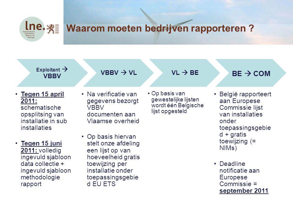 Exploitant  VBBV Tegen 15 april 2011: schematische opsplitsing van installatie in sub installaties Tegen 15 juni 2011: volledig ingevuld sjabloon dat