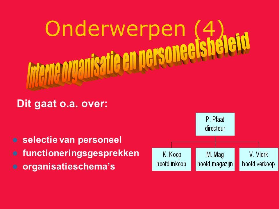 Onderwerpen (4) selectie van personeel functioneringsgesprekken organisatieschema's Dit gaat o.a.