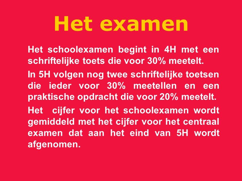 Het examen Het schoolexamen begint in 4H met een schriftelijke toets die voor 30% meetelt.