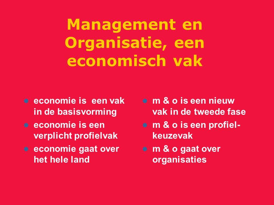 Management en Organisatie, een economisch vak economie is een vak in de basisvorming economie is een verplicht profielvak economie gaat over het hele land m & o is een nieuw vak in de tweede fase m & o is een profiel- keuzevak m & o gaat over organisaties