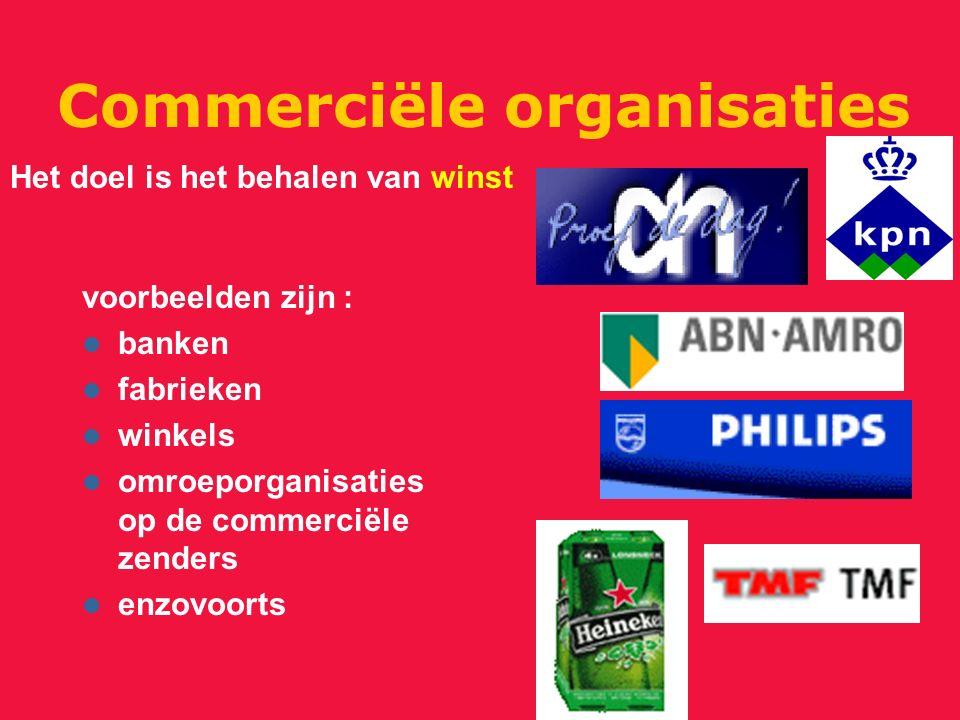 Commerciële organisaties voorbeelden zijn : banken fabrieken winkels omroeporganisaties op de commerciële zenders enzovoorts Het doel is het behalen van winst
