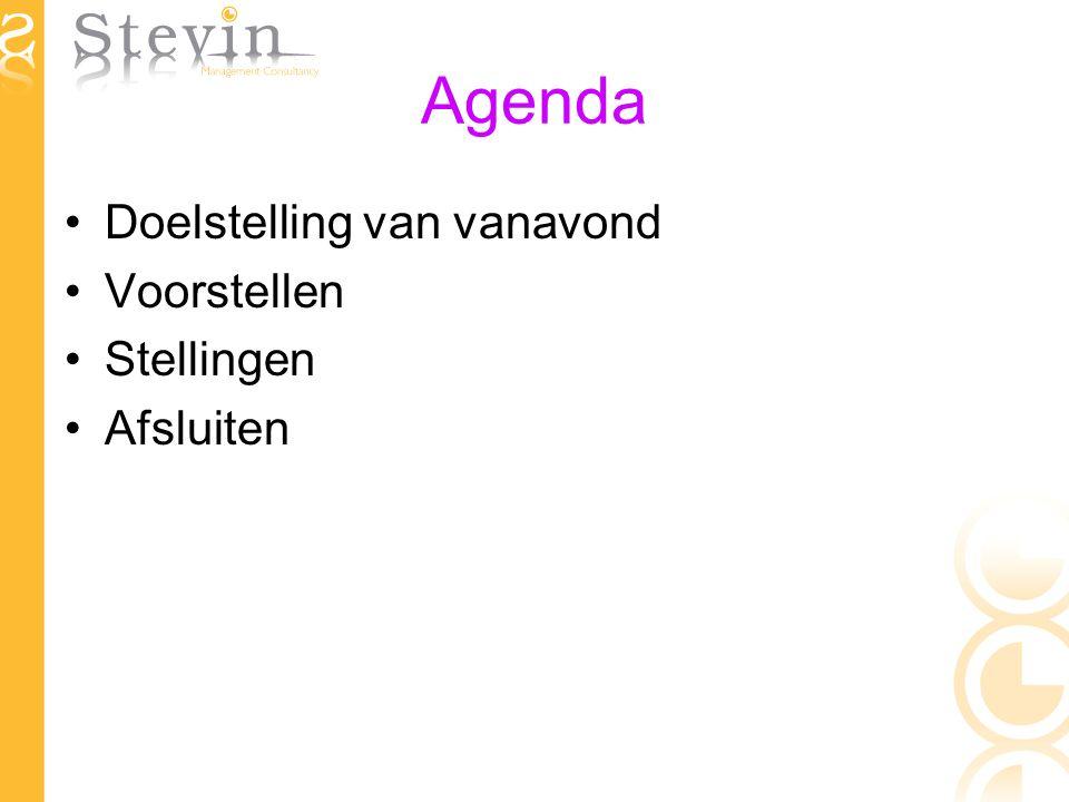 Agenda Doelstelling van vanavond Voorstellen Stellingen Afsluiten