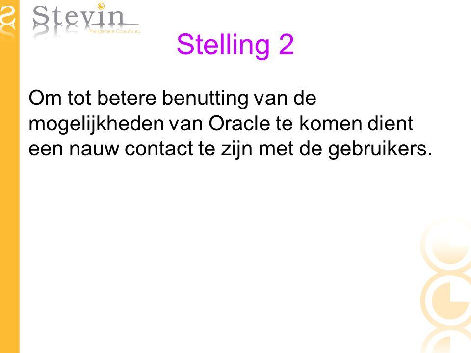 Stelling 2 Om tot betere benutting van de mogelijkheden van Oracle te komen dient een nauw contact te zijn met de gebruikers.