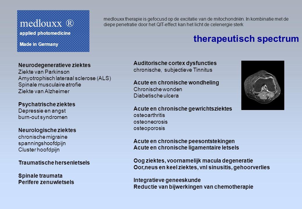 medlouxx therapie is gefocusd op de excitatie van de mitochondriën. In kombinatie met de diepe penetratie door het QIT-effect kan het licht de celener