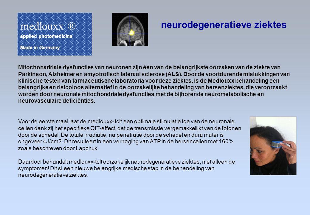 neurodegeneratieve ziektes Voor de eerste maal laat de medlouxx- tclt een optimale stimulatie toe van de neuronale cellen dank zij het specifieke QIT-