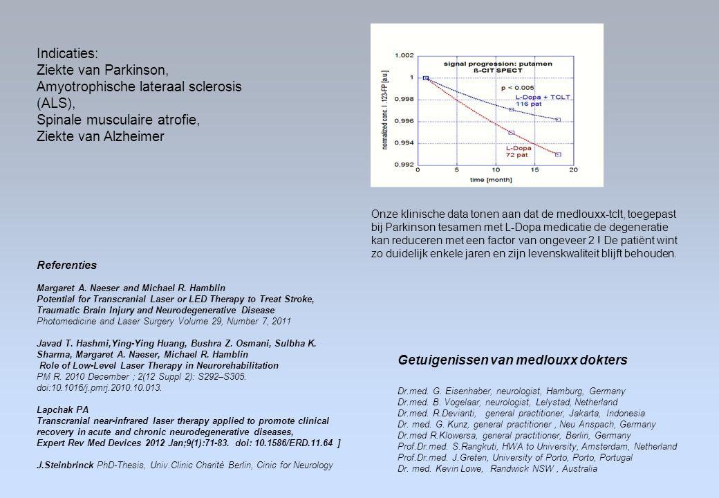 Indicaties: Ziekte van Parkinson, Amyotrophische lateraal sclerosis (ALS), Spinale musculaire atrofie, Ziekte van Alzheimer Referenties Margaret A. Na