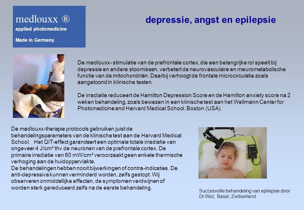 depressie, angst en epilepsie De medlouxx- stimulatie van de prefrontale cortex, die een belangrijke rol speelt bij depressie en andere stoornissen, v