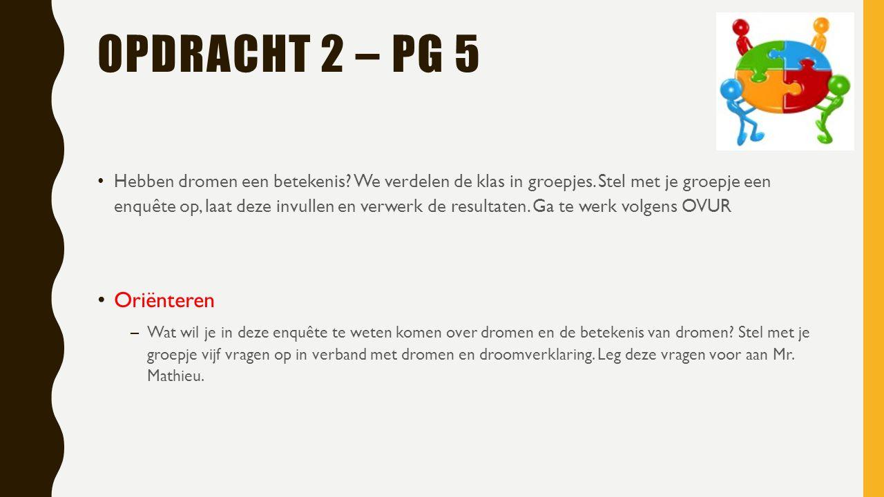 OPDRACHT 2 – PG 5 Hebben dromen een betekenis.We verdelen de klas in groepjes.