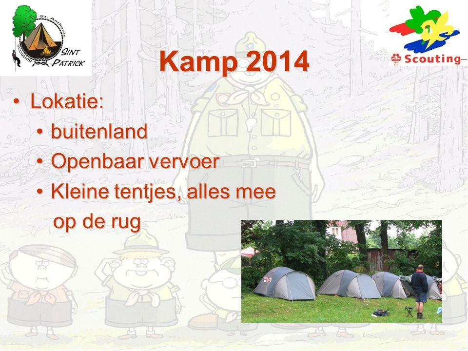 Kamp 2014 Lokatie:Lokatie: buitenlandbuitenland Openbaar vervoerOpenbaar vervoer Kleine tentjes, alles meeKleine tentjes, alles mee op de rug op de ru