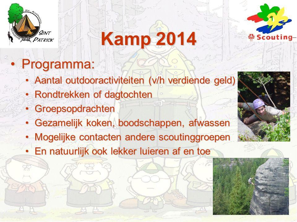 Kamp 2014 Programma:Programma: Aantal outdooractiviteiten (v/h verdiende geld)Aantal outdooractiviteiten (v/h verdiende geld) Rondtrekken of dagtochte