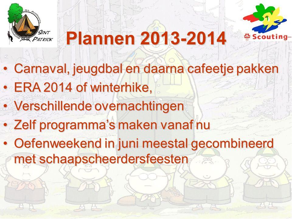 Plannen 2013-2014 Carnaval, jeugdbal en daarna cafeetje pakkenCarnaval, jeugdbal en daarna cafeetje pakken ERA 2014 of winterhike,ERA 2014 of winterhi