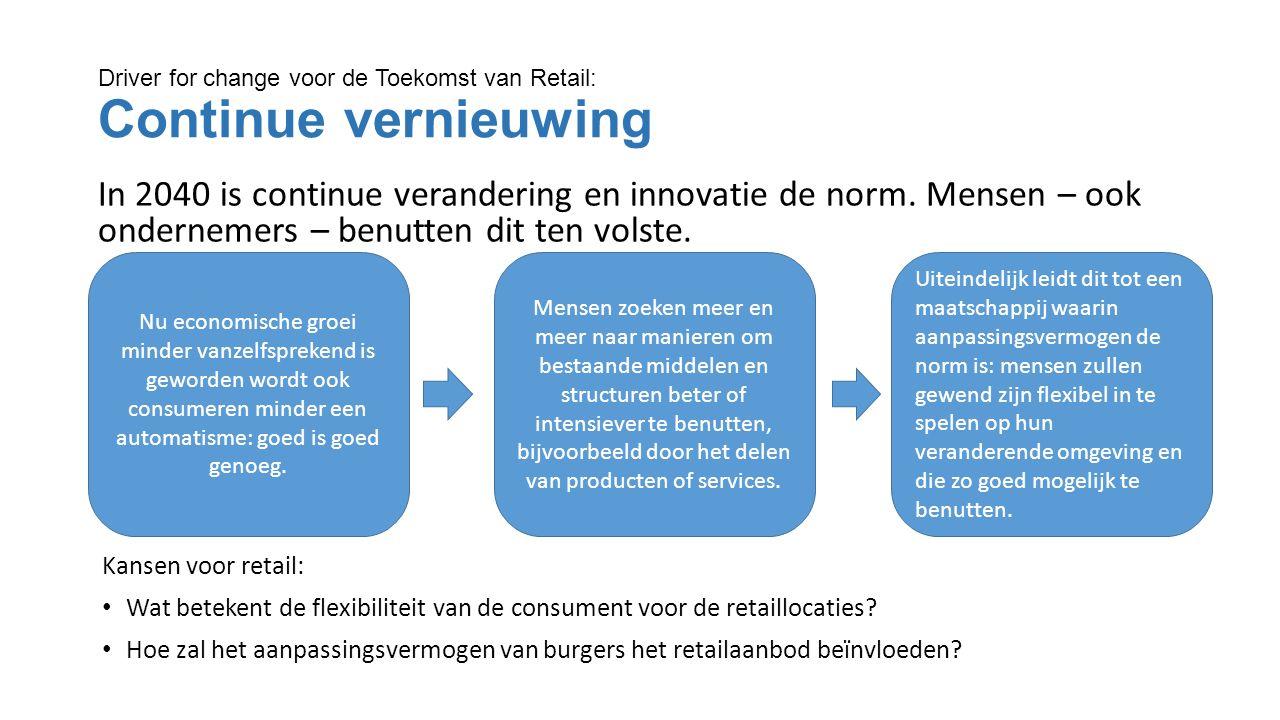 Driver for change voor de Toekomst van Retail: Continue vernieuwing In 2040 is continue verandering en innovatie de norm.
