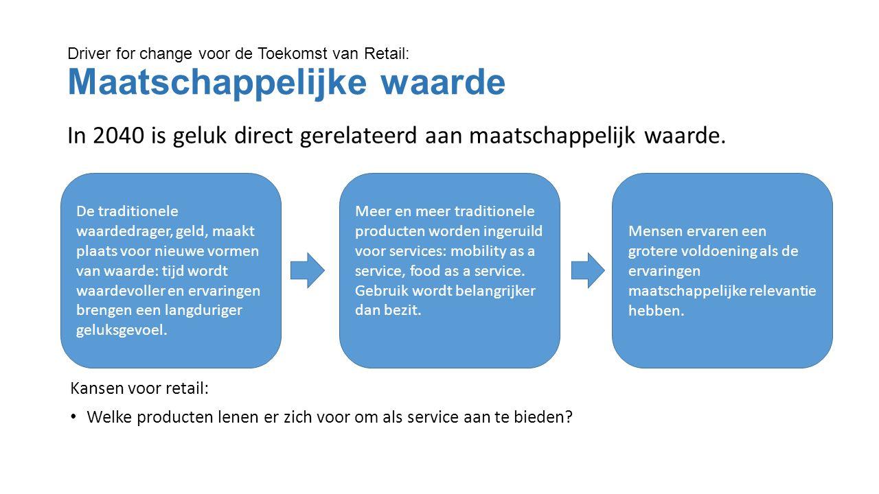 Driver for change voor de Toekomst van Retail: Maatschappelijke waarde In 2040 is geluk direct gerelateerd aan maatschappelijk waarde.