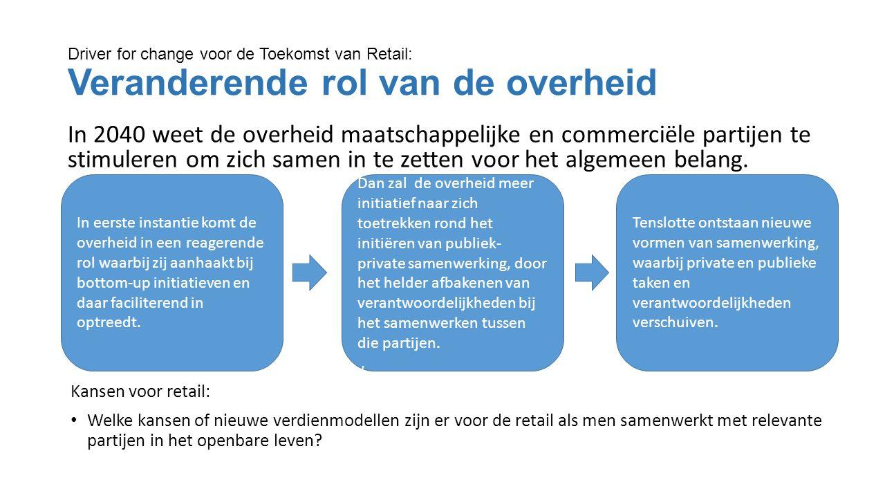Driver for change voor de Toekomst van Retail: Veranderende rol van de overheid In 2040 weet de overheid maatschappelijke en commerciële partijen te stimuleren om zich samen in te zetten voor het algemeen belang.