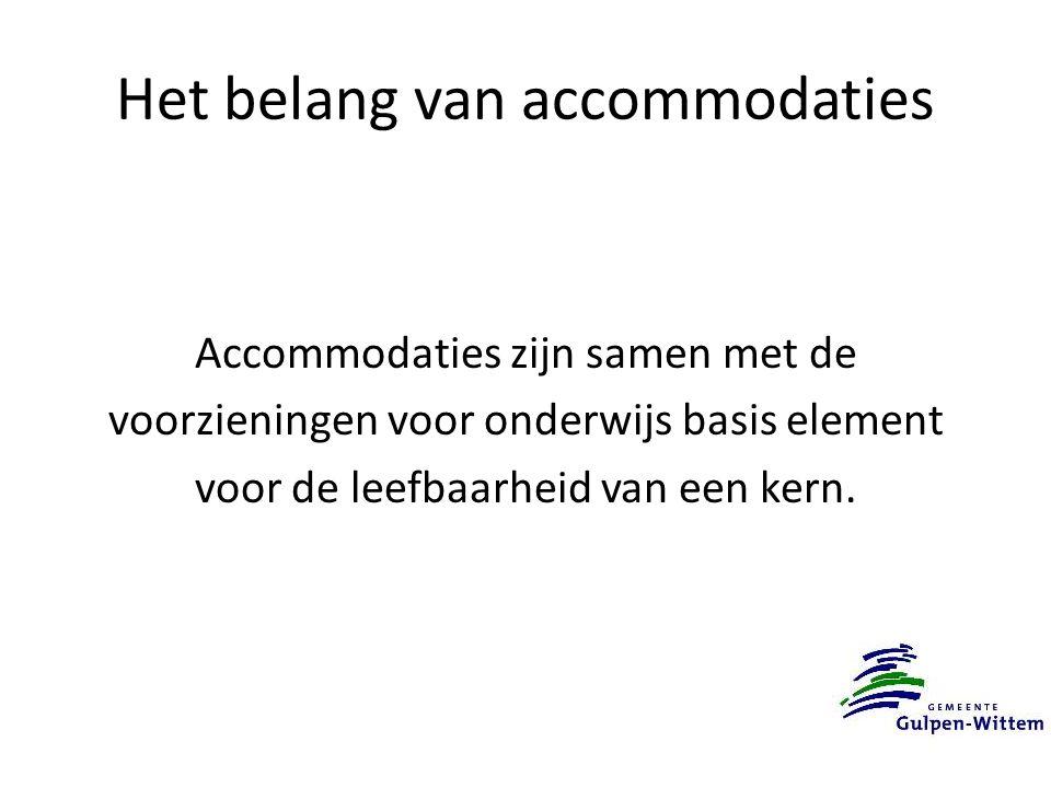 Het belang van accommodaties Accommodaties zijn samen met de voorzieningen voor onderwijs basis element voor de leefbaarheid van een kern.