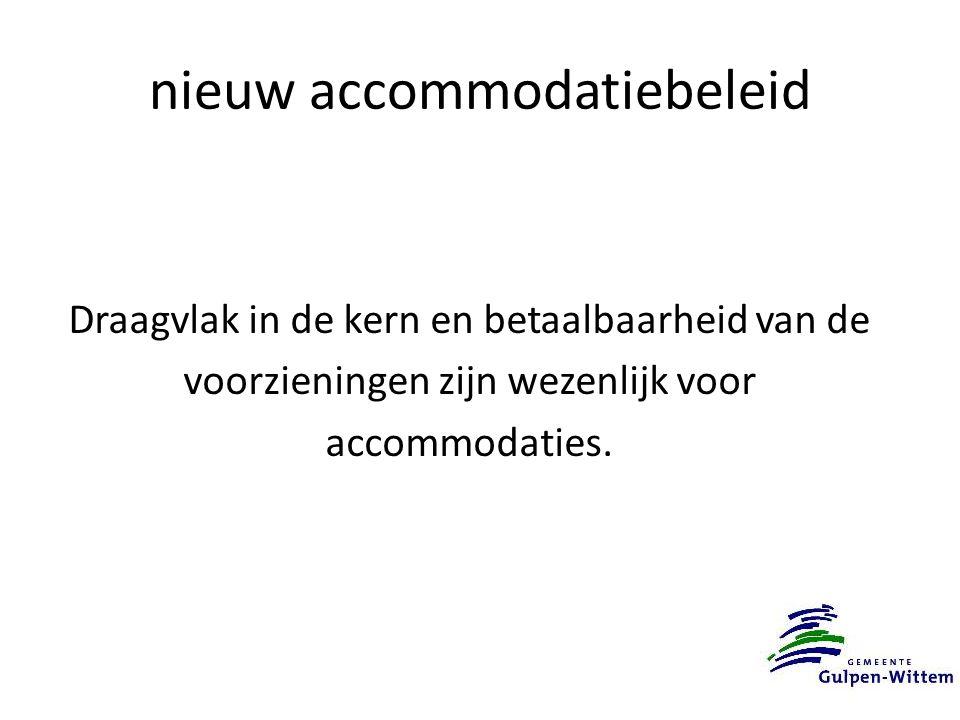 nieuw accommodatiebeleid Draagvlak in de kern en betaalbaarheid van de voorzieningen zijn wezenlijk voor accommodaties.
