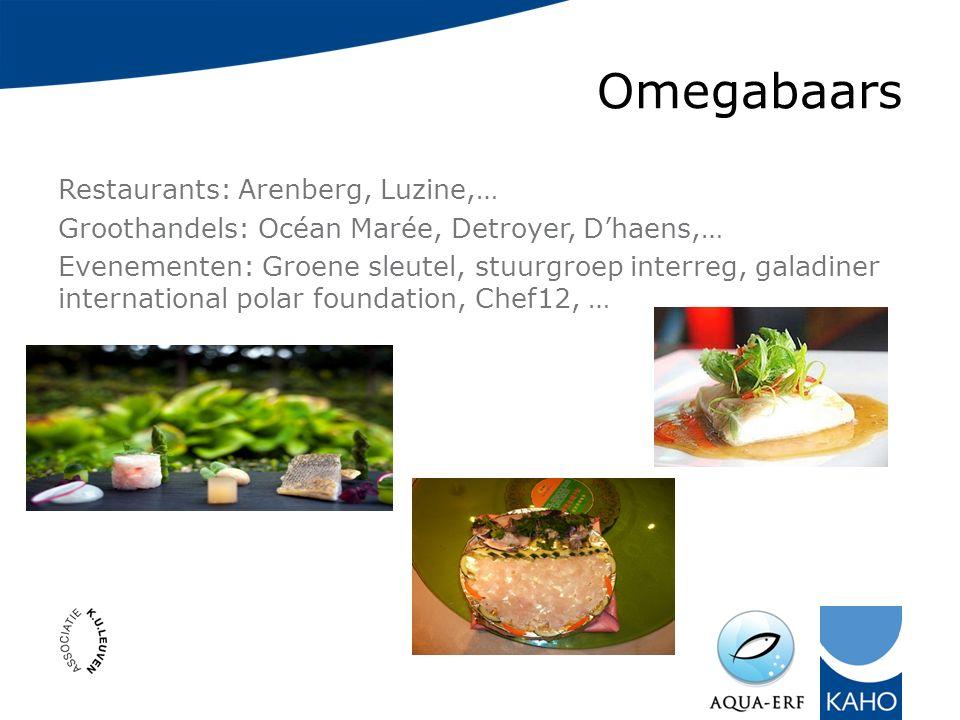 Omegabaars Restaurants: Arenberg, Luzine,… Groothandels: Océan Marée, Detroyer, D'haens,… Evenementen: Groene sleutel, stuurgroep interreg, galadiner international polar foundation, Chef12, …