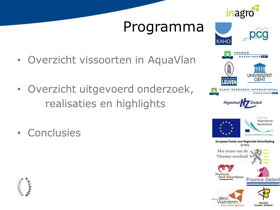 Programma xxxxxx Overzicht vissoorten in AquaVlan Overzicht uitgevoerd onderzoek, realisaties en highlights Conclusies
