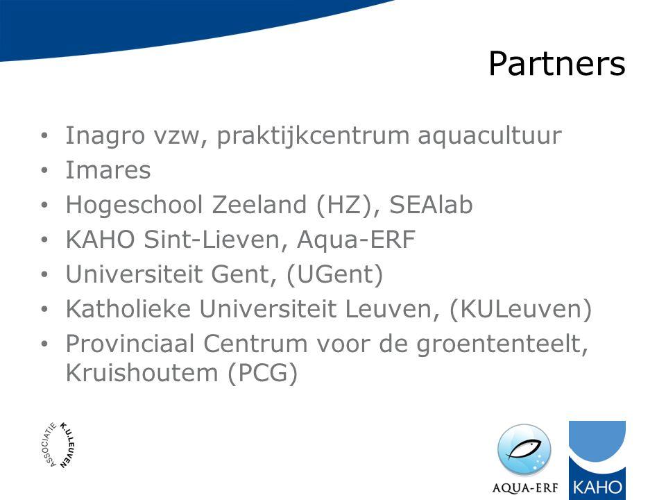 Partners Inagro vzw, praktijkcentrum aquacultuur Imares Hogeschool Zeeland (HZ), SEAlab KAHO Sint-Lieven, Aqua-ERF Universiteit Gent, (UGent) Katholieke Universiteit Leuven, (KULeuven) Provinciaal Centrum voor de groententeelt, Kruishoutem (PCG)