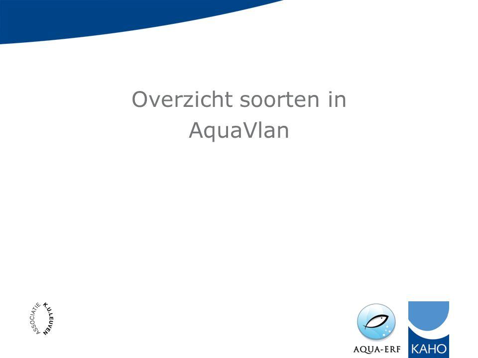 Overzicht soorten in AquaVlan
